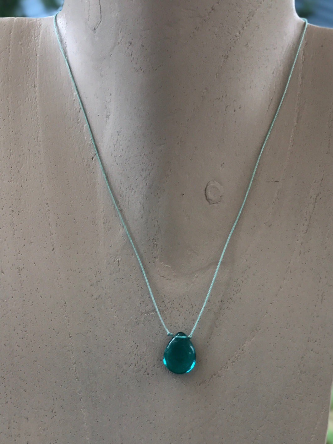 Brilliant Blue Glass Teardrop Choker