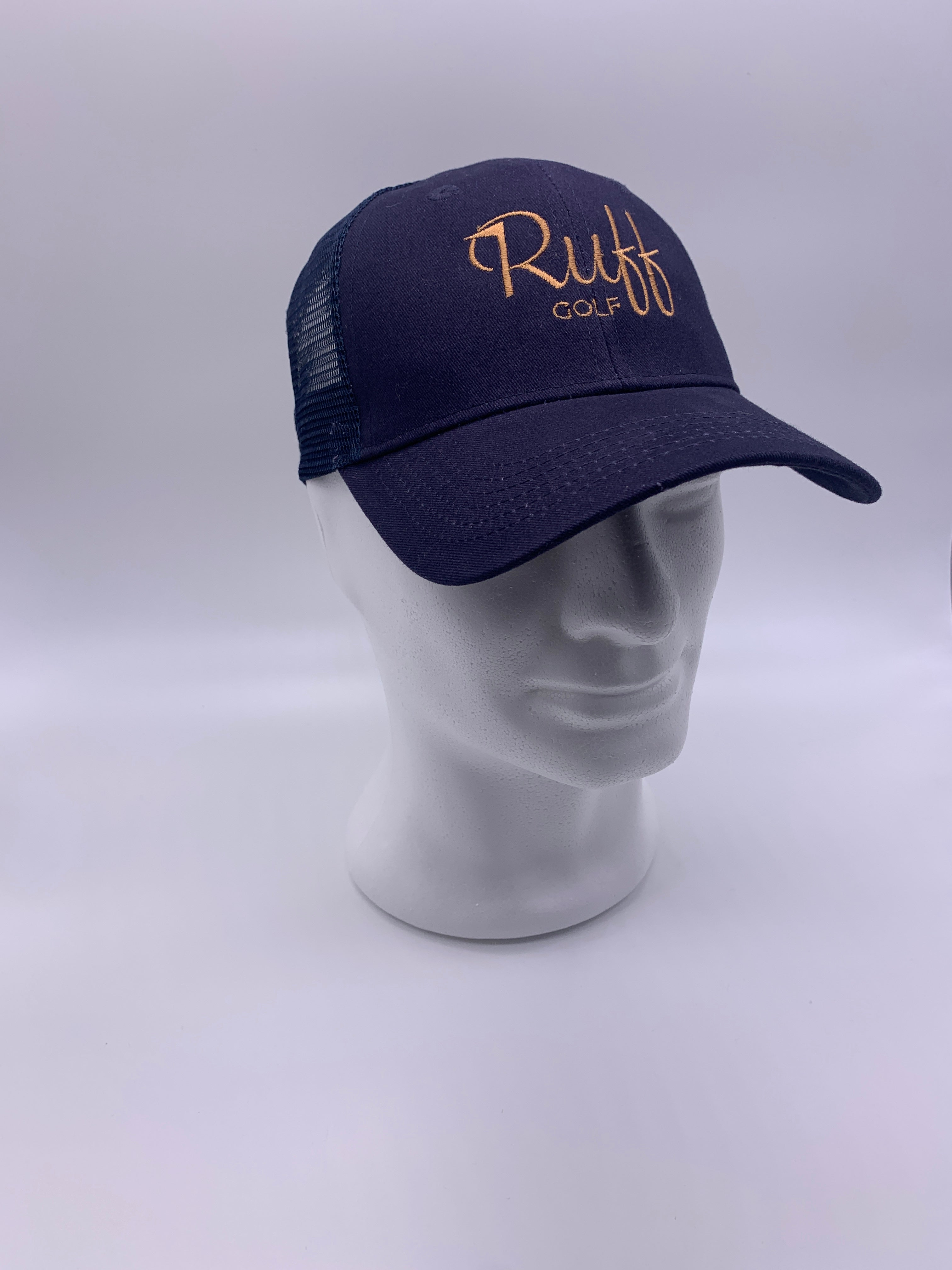 Ruff Golf Trucker Style Cap Navy/Bronze