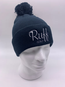 Ruff Golf Bobble Beanie Hat Navy/White
