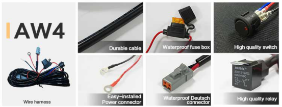 aurora led light bar wiring harness 40 inch and 50 inch