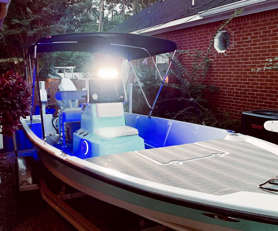 Aurora 10 inch boat light bar on pathfinder bay boat 1806v
