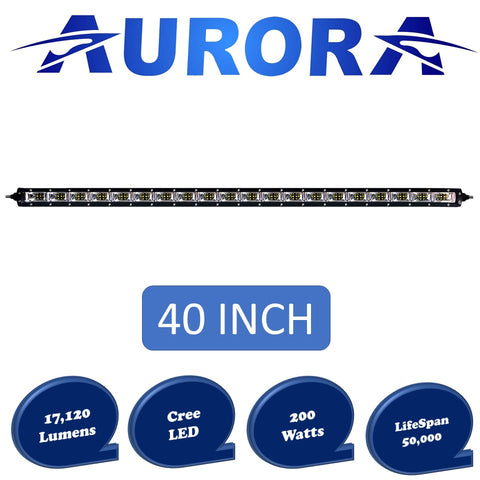 aurora single row led light bar with scene beam pattern