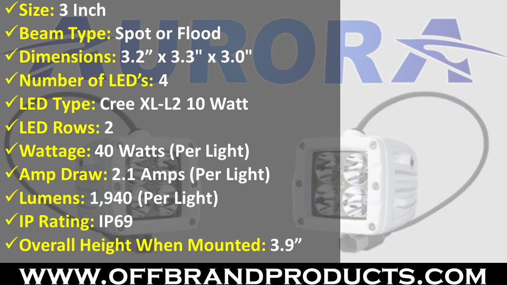 aurora led boat lights specs