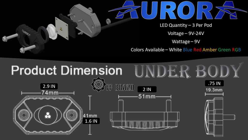 Aurora LED golf cart under body lighting