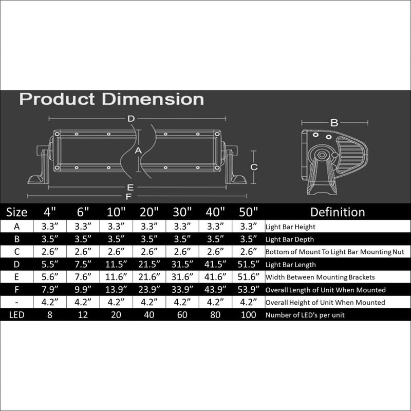 aurora hybrid series light bar dimensions