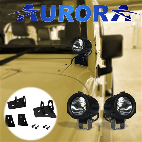 Aurora 2 Inch Laser Kit Plus Mounts for Jeep Wrangler JK - Bundle