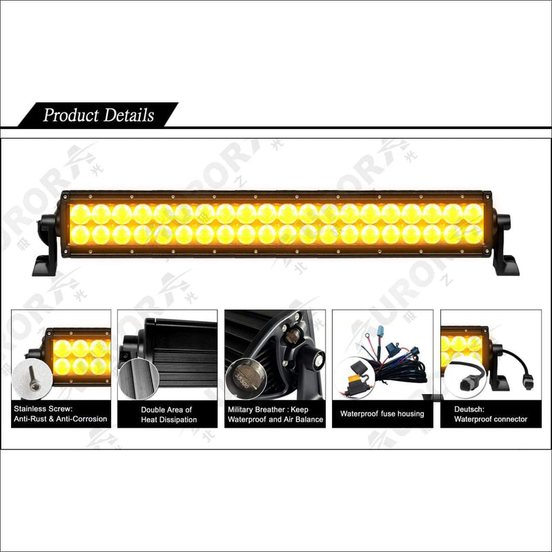 Aurora 20 Inch Amber Dual Row LED Light Bar - Amber LED Light Bar