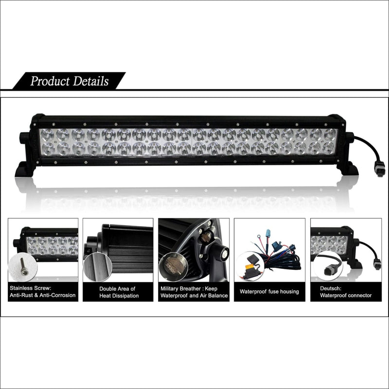 Aurora 20 Inch Dual Row LED Light Bar - 17 120 Lumens - LED Light Bar