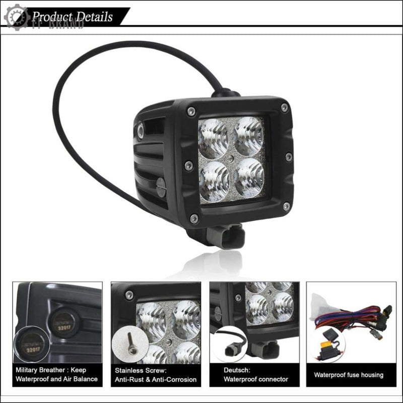 Aurora 3 Inch LED Cubed lights kit Smoked Edition - 3 880 Lumens - LED Light Pod