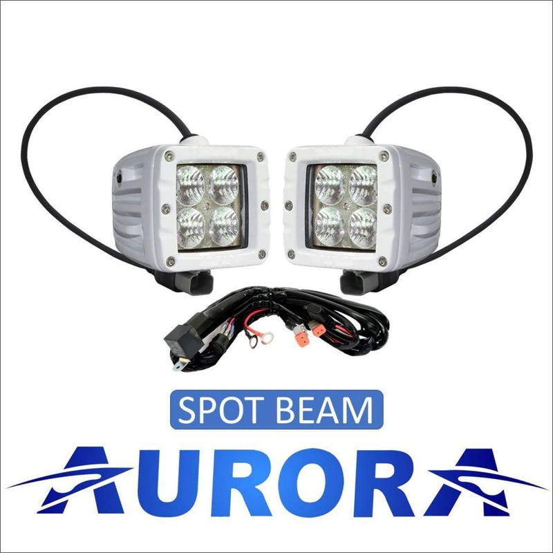 Aurora 3 Inch Marine White LED Cube Kit - 3 880 Lumens - Spot - Marine Lights