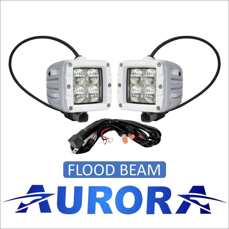 Aurora 3 Inch Marine White LED Cube Kit - 3 880 Lumens - Flood - Marine Lights