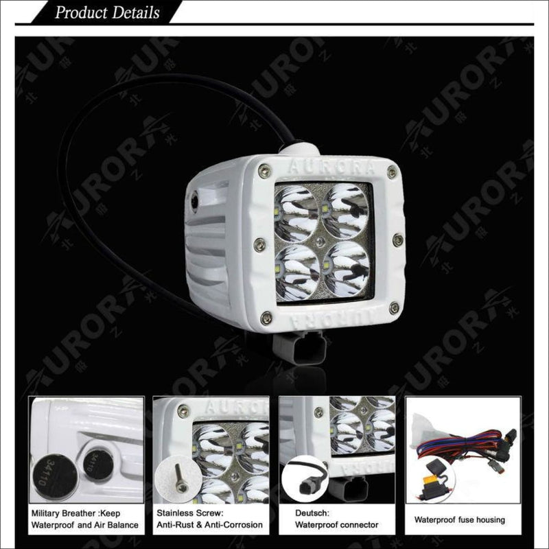 Aurora 3 Inch Marine White LED Cube Kit - 3 880 Lumens - Marine Lights