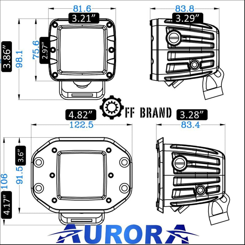 aurora marine led spreader lights dimensions