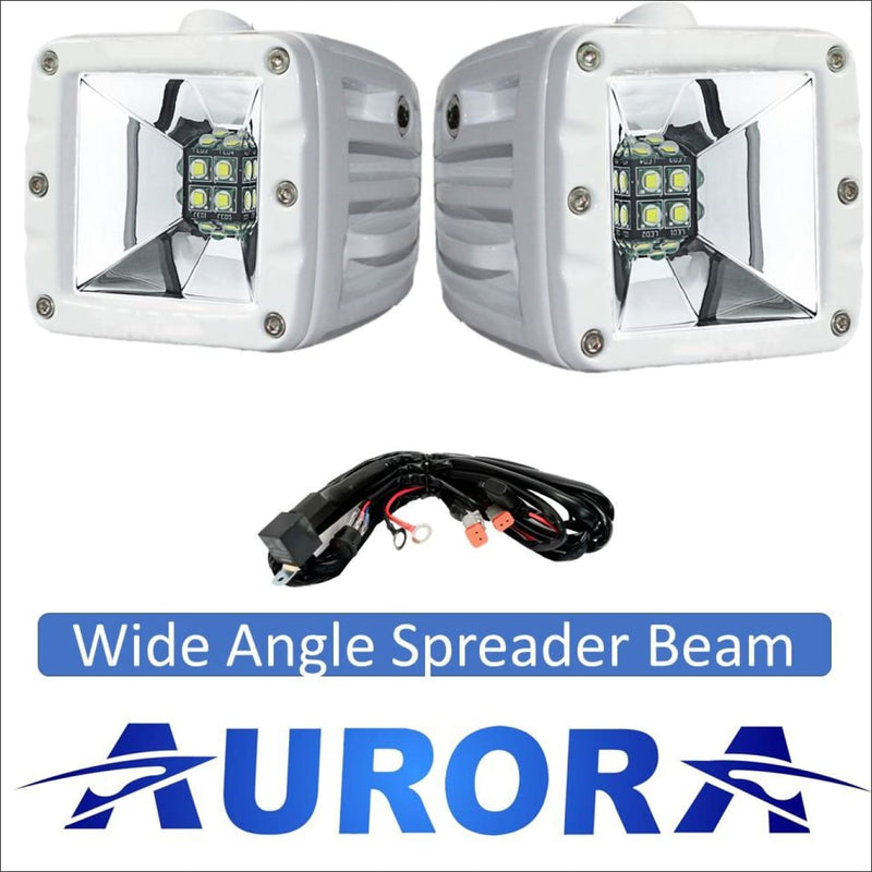 Aurora 3 Inch Marine Wide Angle Scene Beam Spreader Light Kit - 3,880 Lumens