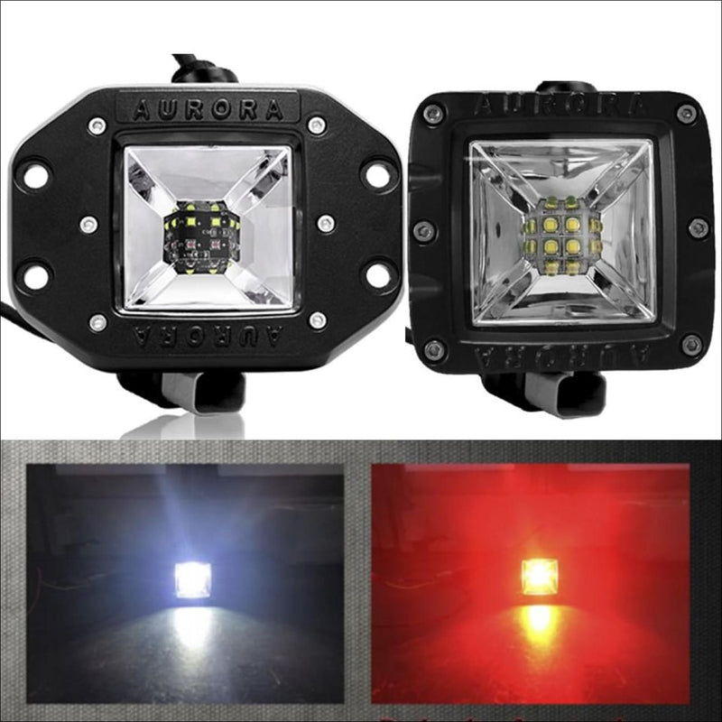 Aurora 3 Inch LED Multi Function LED Light White led reverse light Red led brake Light Kit - LED Light Pod