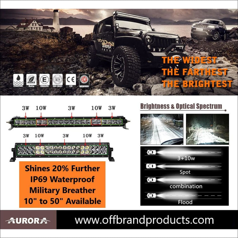 Aurora 30 Inch Dual Row LED Light Bar - Hybrid Series - 22,788 Lumens