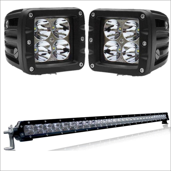 Aurora 30 Inch Single Row + 3 Inch Cubed Bundle - 16,000 Lumens