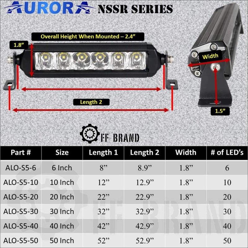 Aurora 30 Inch Single Row Slim NSSR Series - LED Light Bar