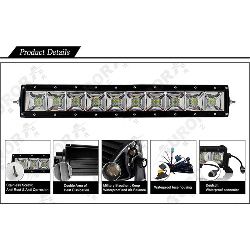 Aurora 40 Inch Dual Row LED Light Bar with Scene Beam Pattern - LED Light Bar