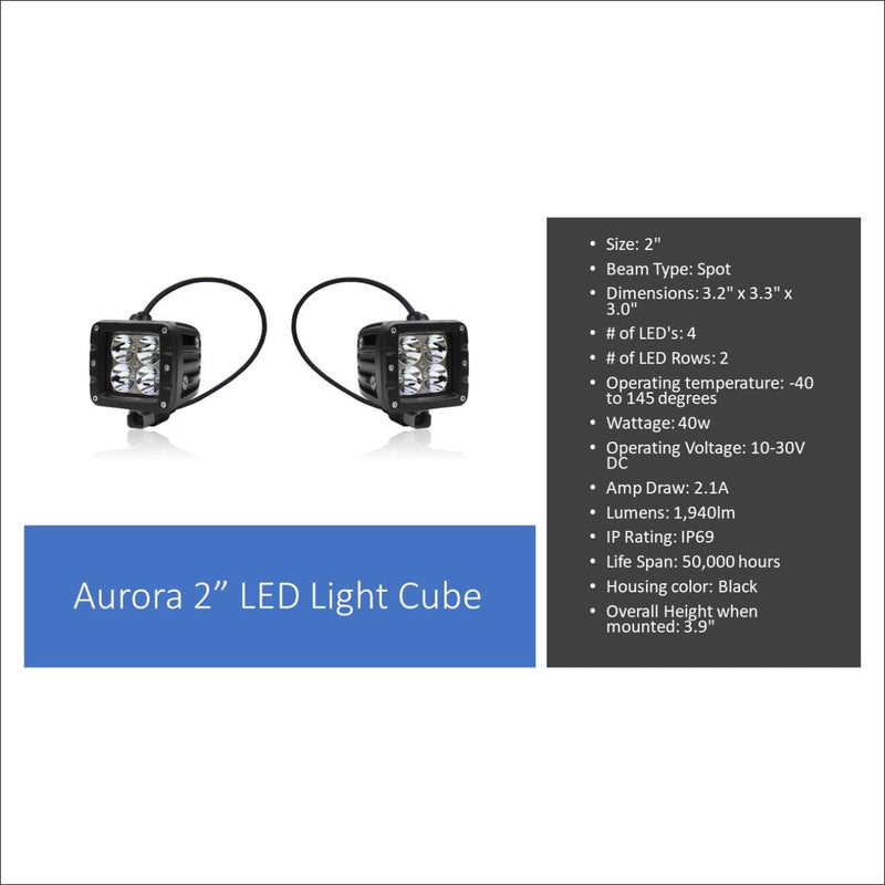 Aurora 50 Inch Single Row + 3 Inch Cubed Bundle - 25 280 Lumens - Bundle