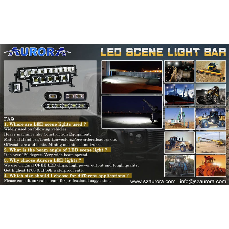 Aurora 40 Inch Single Row LED Light Bar with Scene Beam Pattern - LED Light Bar