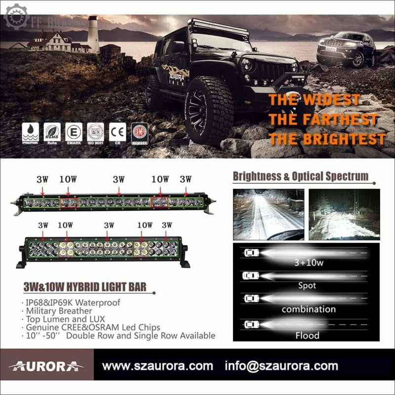 Aurora 50 Inch Single Row LED Light Bar - Hybrid Series 18 774 Lumens - LED Light Bar