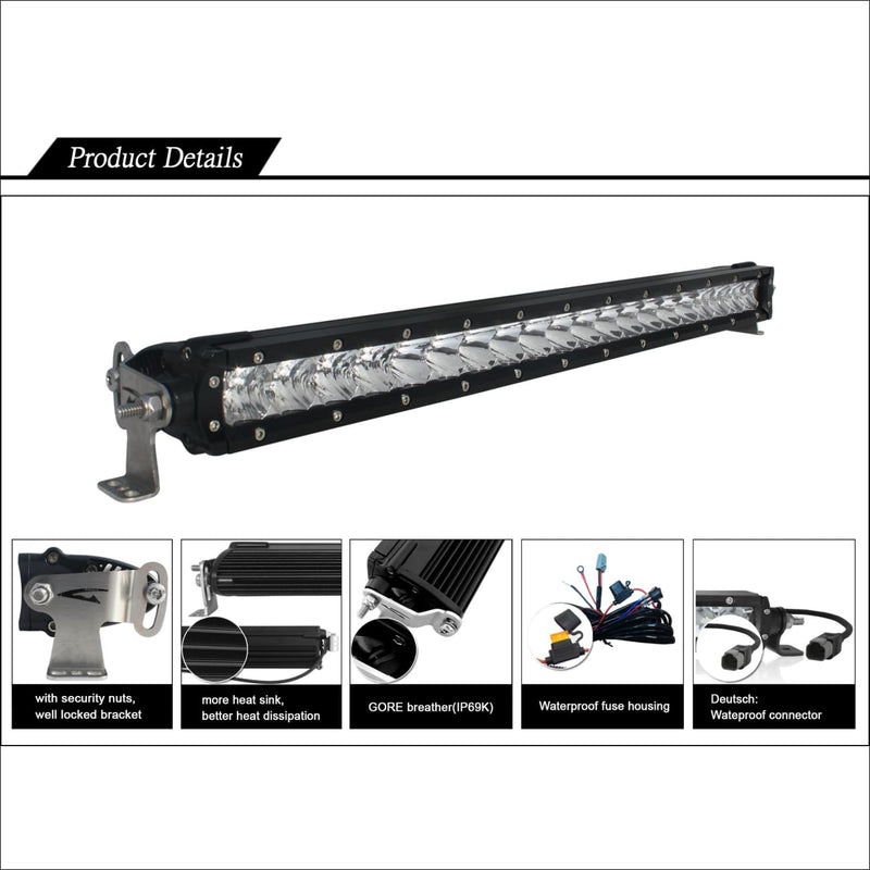 Aurora 6 Inch Single Row LED Light Bar - 3 852lm - LED Light Bar