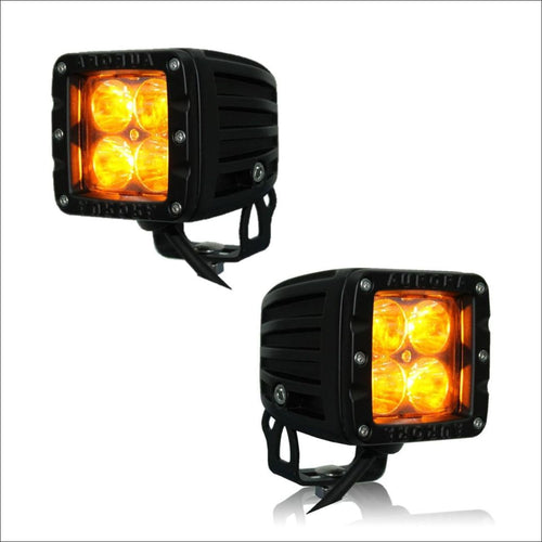 Aurora AMBER 3 Inch LED Cubed light kit jeep wrangler jk