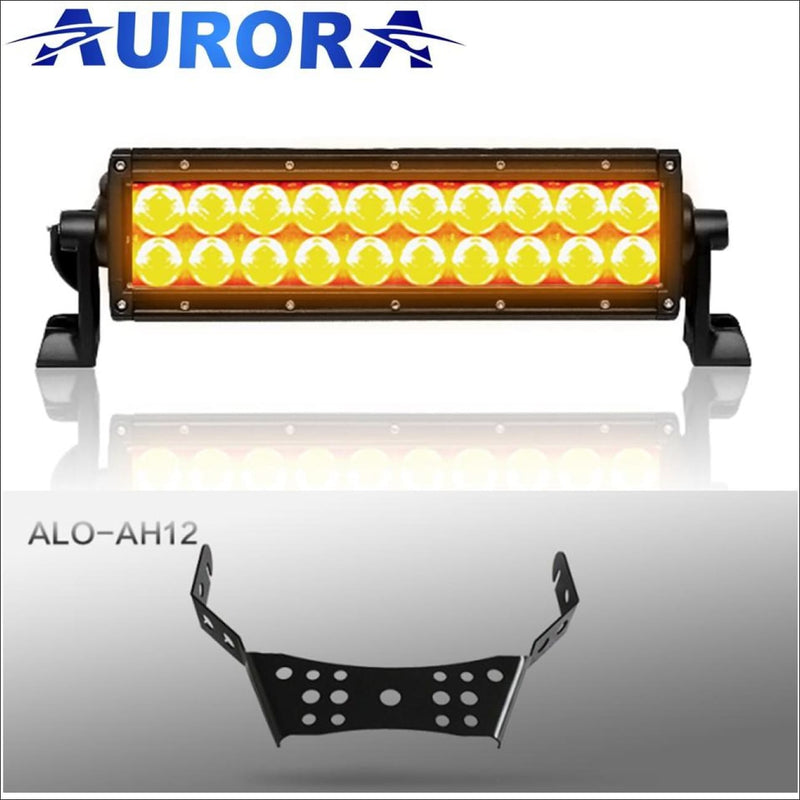 Aurora ATV Handle Bar Kit w/10 Inch LED Light Bar - 10 Inch Dual Row w/ Amber Beam - Light Bar Mount - ATV-Dirt-Bike