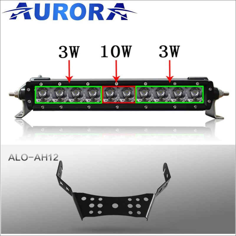Aurora ATV Handle Bar Kit w/10 Inch LED Light Bar - 10 Inch Single Row Hybrid Series - Light Bar Mount - ATV-Dirt-Bike