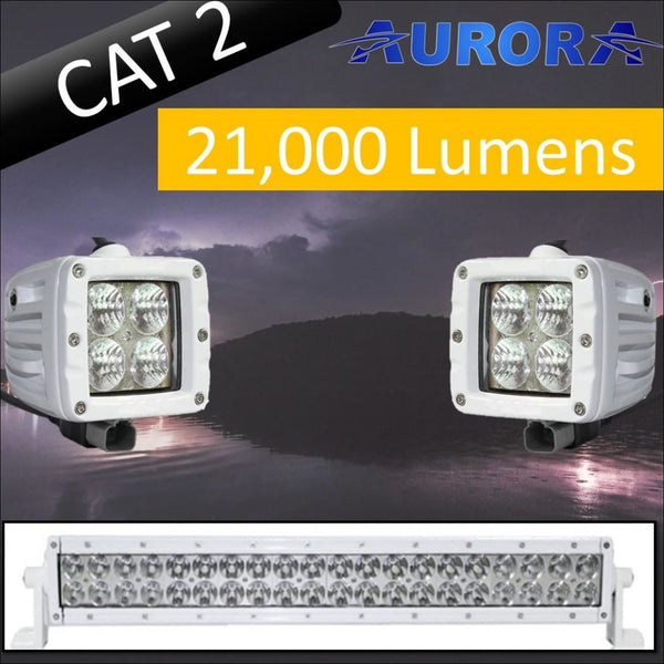 Aurora CAT 2 Bundle - 20 Inch Plus 3 Inch - 21 000 Lumens - Bundle