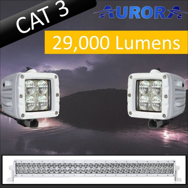 Aurora CAT 3 Bundle - 30 Inch Plus 3 Inch - 29 000 Lumens - Bundle