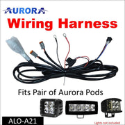 Aurora LED Light Pod Wiring Harness Kit - Pair of Pods - Cubes and Work Lights - LED Accessories Wiring Harness