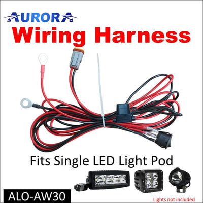 Aurora LED Light Wiring Harness Kit for Single Pod Cubed and Work Light - LED Accessories Wiring Harness