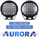 Aurora 7 Inch Round LED Light with DRLs -17 344 Lumens (QTY 2) - LED Driving Light