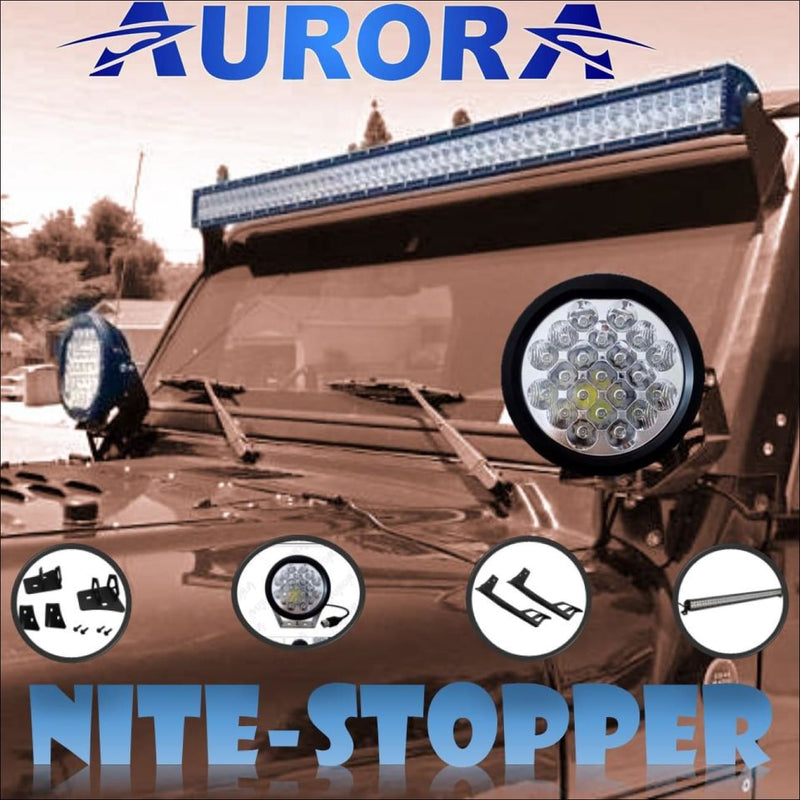 Jeep Wrangler JK 2007-2017 50 LED Light Bar & 5 Inch Round LED Lights Kit by Aurora - Bundle
