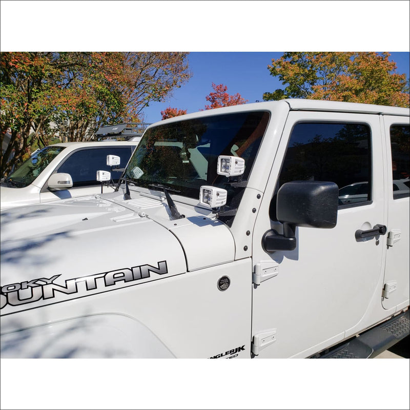 Jeep Wrangler Windshield A-Pillar Dual Light Pod Mount Bundle by Aurora