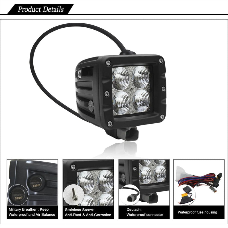 Jeep wrangler led pod light specifications