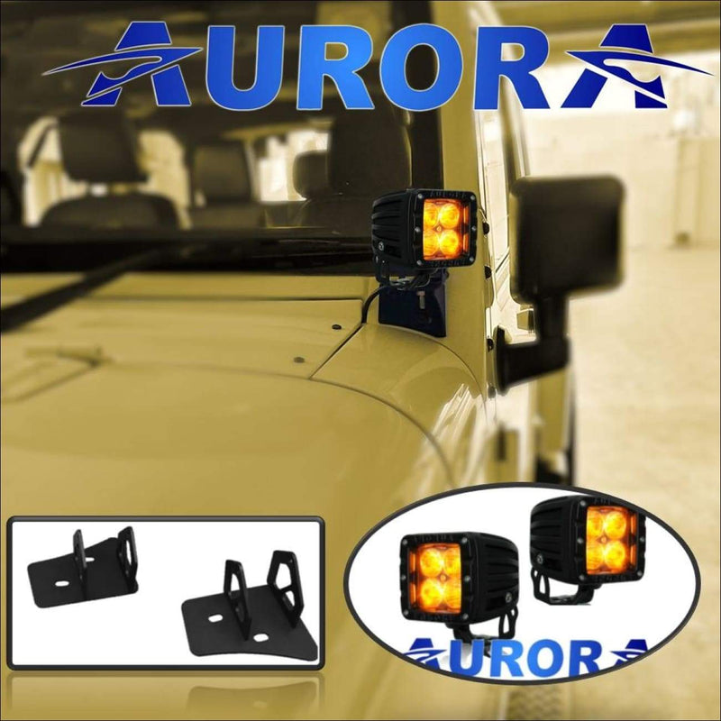jeep wrangler led amber lights and mounts auror