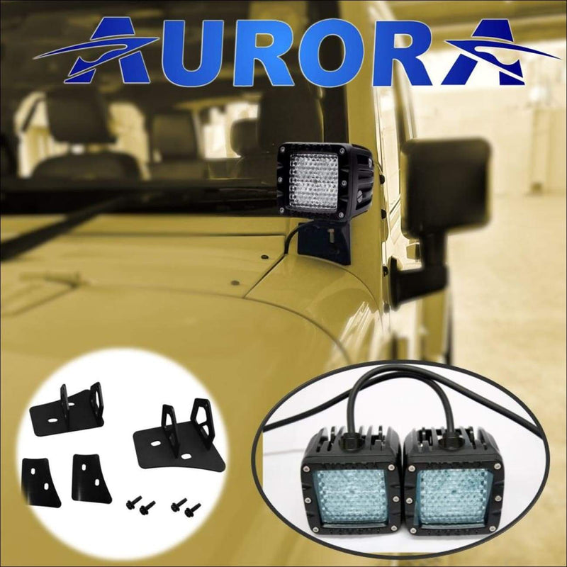 jeep wrangler led diffused lights and mounts aurora