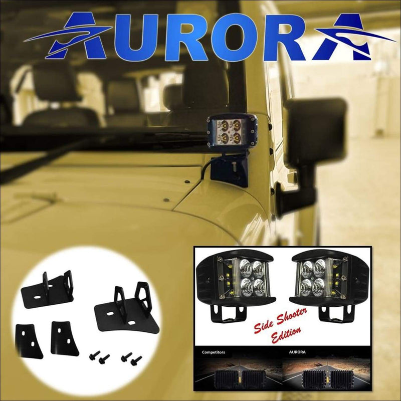 jeep wrangler led side shooter lights and mounts aurora
