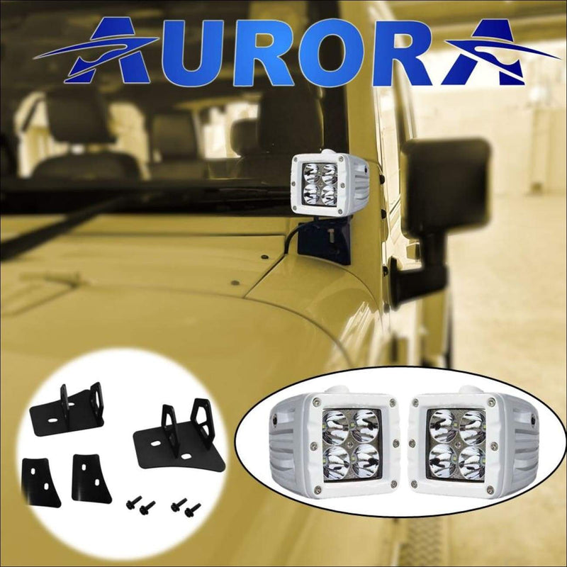 jeep wrangler white LED lights and mounts aurora