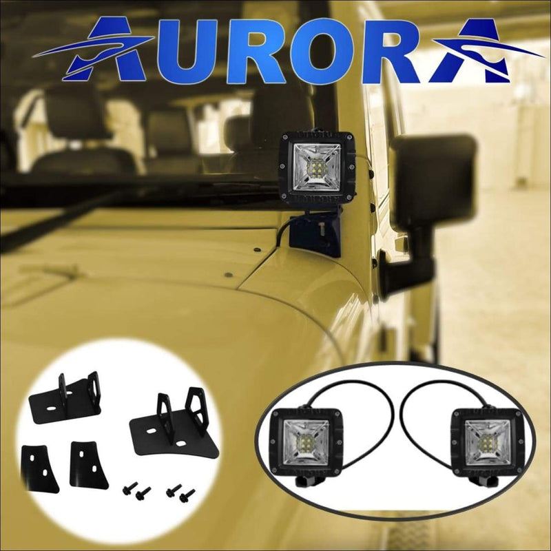 jeep wrangler led wide angle scene beam lights and mounts aurora