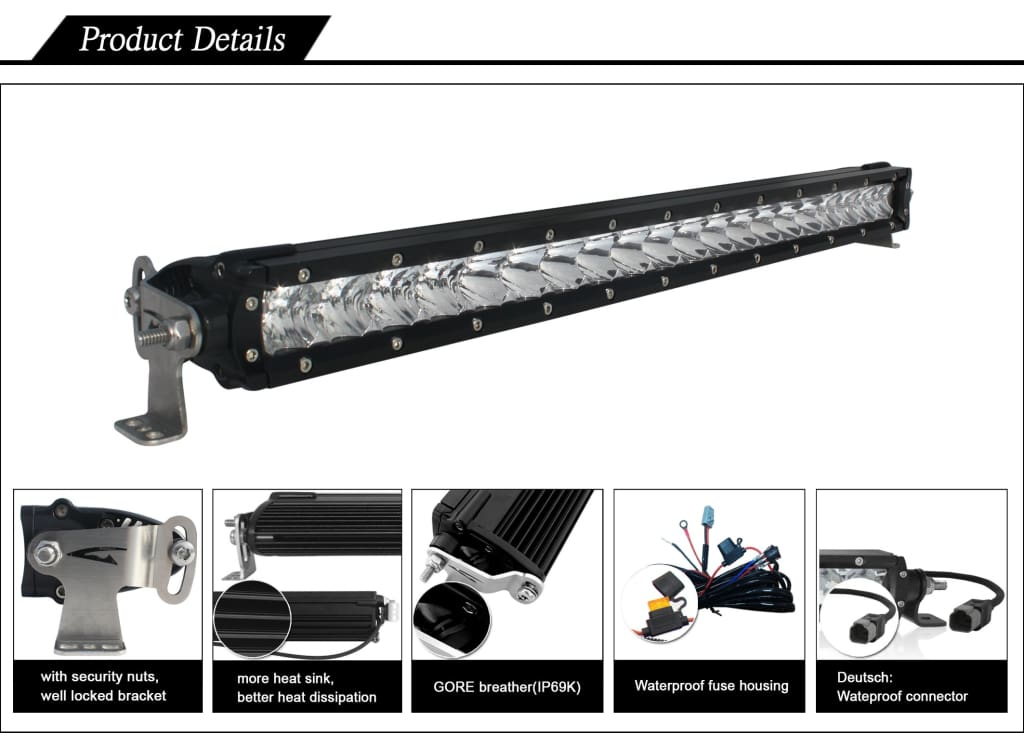 Aurora 6 Inch Single Row LED Light Bar - 3 852 Lumens