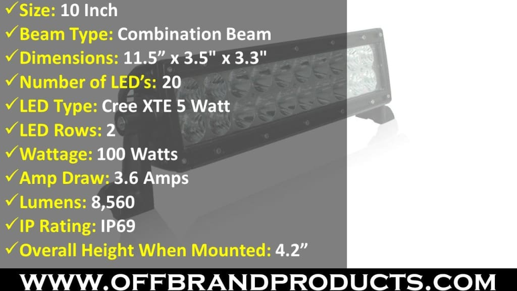 aurora 10 inch led light bar