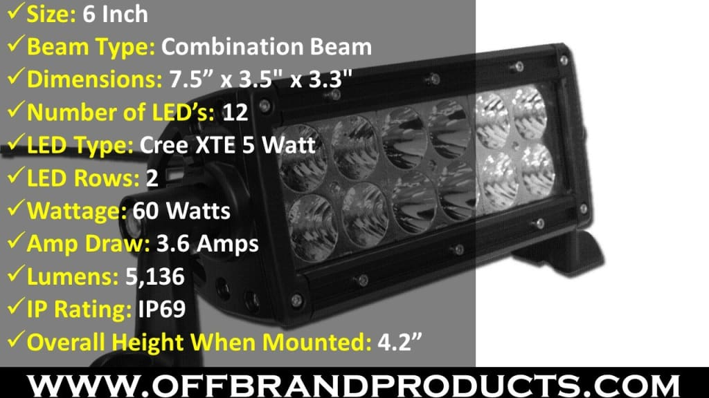 aurora 6 inch led light bar dual row