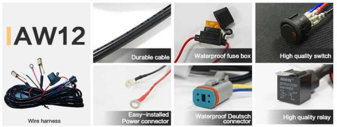aurora led wiring harness for round led light r-series led light