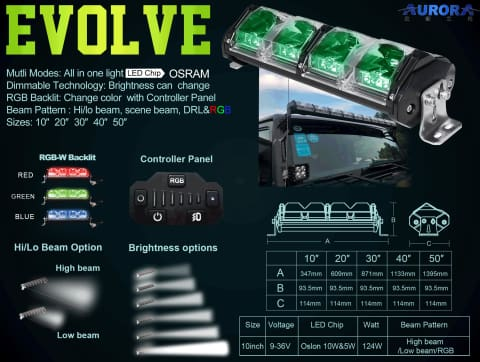 aurora evolve led light bar