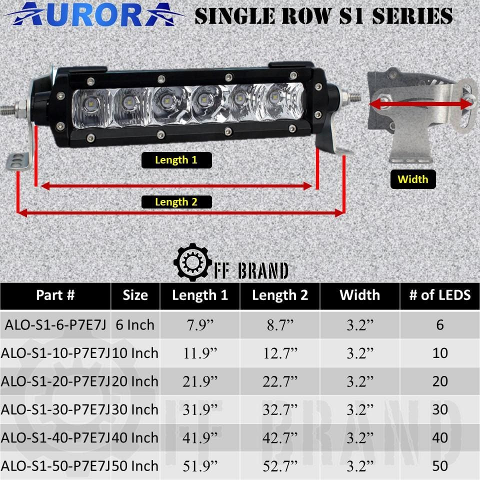 aurora single row s1 led light bar dimensions