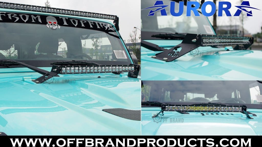 Aurora jeep wrangler led light bar mount